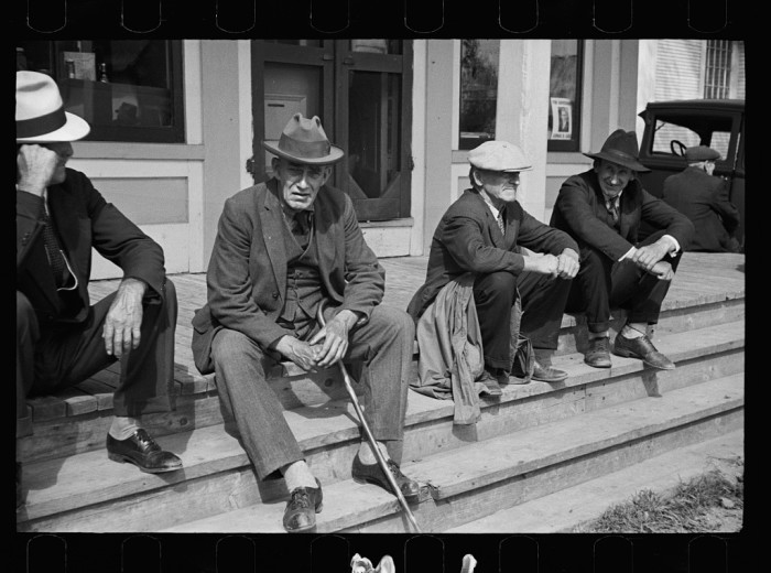 8.  Fair at Albany, Vermont. The old timers take to the steps of the general store.