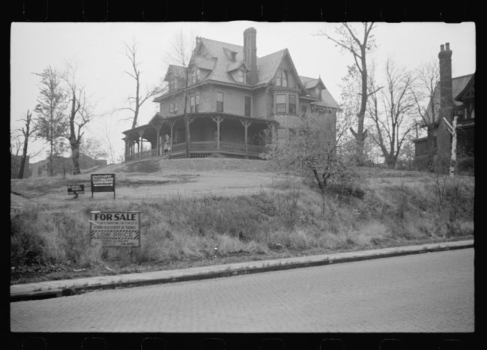 """4. The photographer referred to this Omaha house - which was for sale at the time - as """"old."""" I wonder if it's still standing today. - 1938."""