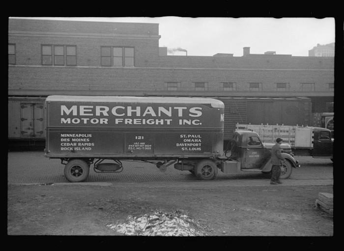 8. Motor truck in wholesale district, Omaha, Nebraska - 1938
