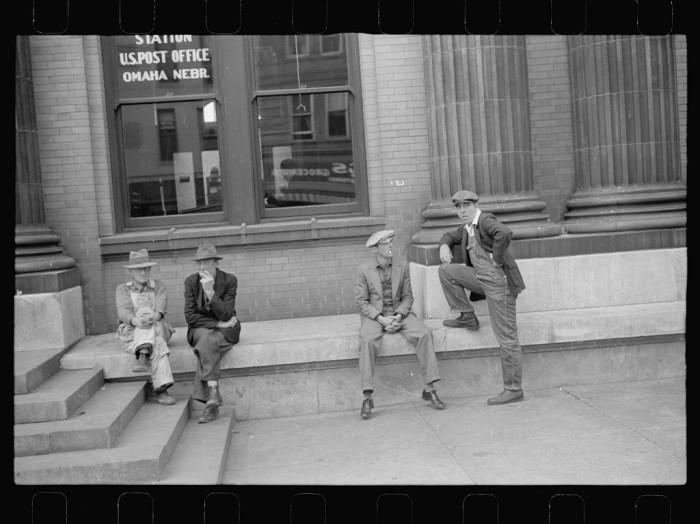 12. Men in front of the post office, South Omaha, Nebraska - 1938