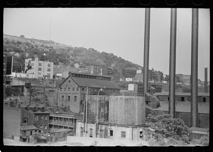8. And then we have Pennsylvania's second biggest city: Pittsburgh. Here houses line the Monongahela River and the Boulevard of Allies in 1938.