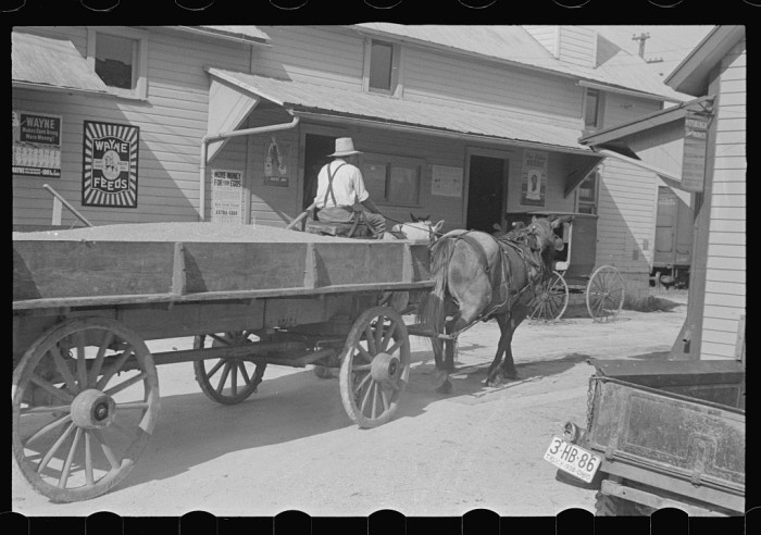 4. Wagon pulling into town in Plain City, Ohio