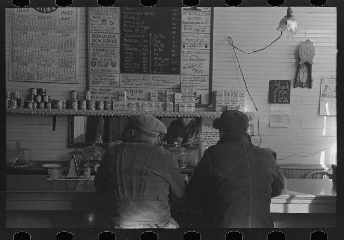 "6. ""Two men eating breakfast in cafe, Granville, North Dakota"""