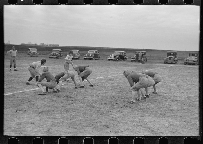 """4. """"Six-man football, Wildrose, Williams County, North Dakota. High schools have fallen off so much in attendance that many smaller towns play with six men instead of eleven"""""""