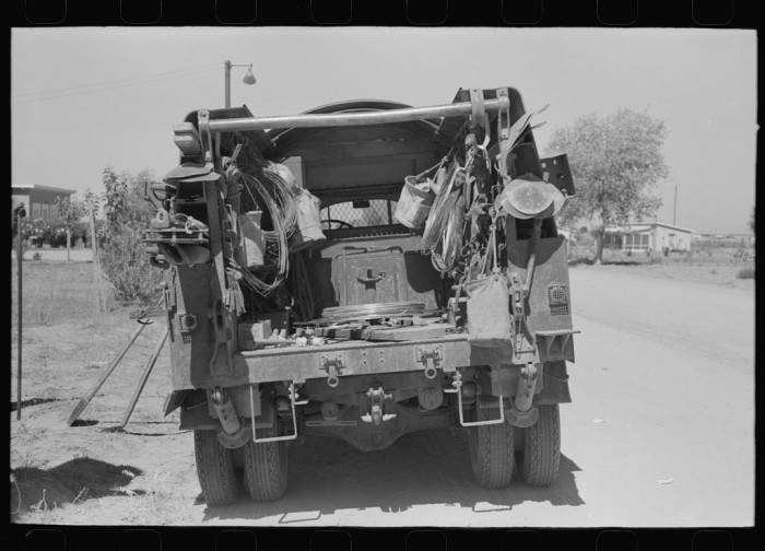 11. Here's a look at the lineman's repair truck. Does anyone know how it may look different from today's repair trucks?