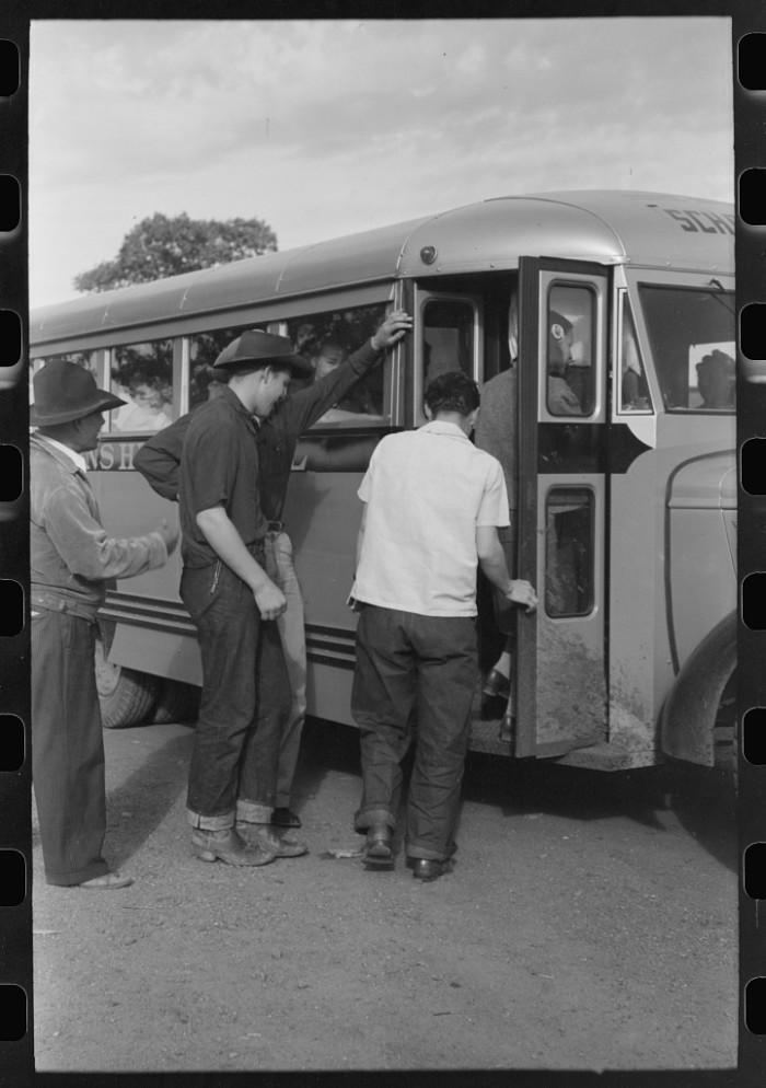 12. These boys are headed off to the high school in St. Johns from Concho in September 1940.