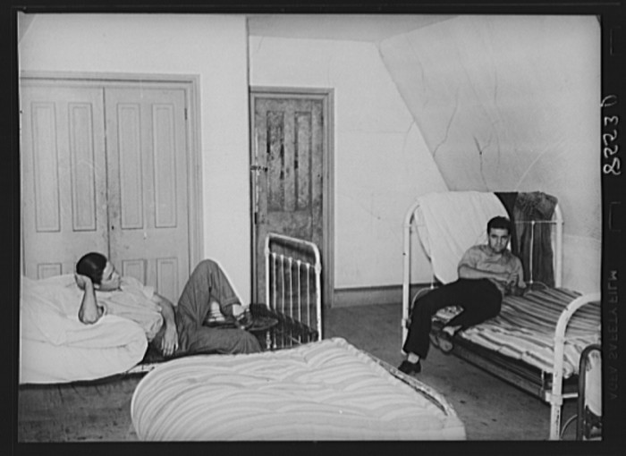 4. Some housemates hang out in their bedroom, 1938. This house at Kings Farm in Morrisville was occupied by nearly 40 people.