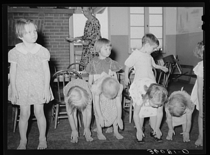 8. Over at the Agua Fria migratory camp, these kids were doing some exercises at the WPA nursery school.