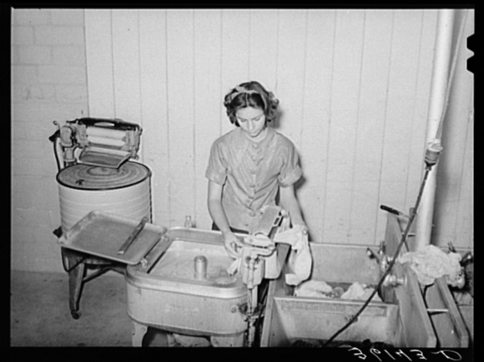 9. Here's an example of a similar washing machine in use. You also had to be careful not to squish your fingers in the wringer!