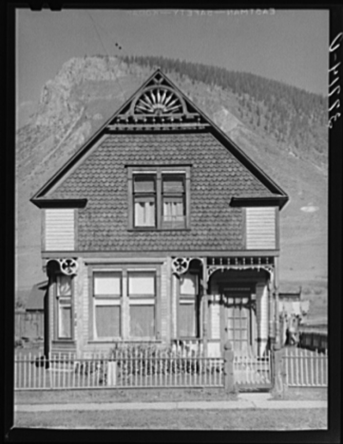 """7. """"Old house in Silverton, Colorado. This was the type of house built by mine and mill operators in the early days. The type of house built in the early days indicates that the owners felt that the mining operations would be one of a permanent nature."""""""