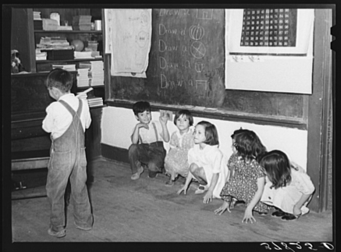 """15. After lessons, it's time for a quick break with games! These kids are playing a game called """"Hunting the Little Squirrels."""" Not one I've heard of."""