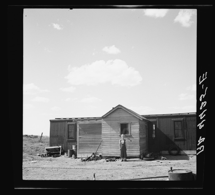 16. Old freight cars also made for cheap, solid homes. This one was located in Box Butte County - 1936.