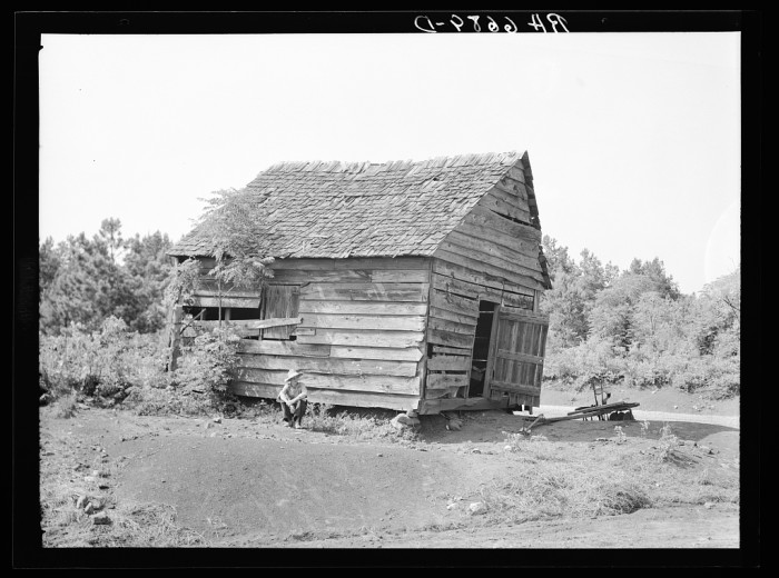 9. Old blacksmith shop at Hell's Half Acre, crossroads corner on area of Plantation Piedmont agricultural demonstration project. Near Eatonton, Georgia - June 1936