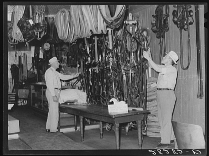 13. A harness shop, where you could get your high-quality harness hand-made right there in the shop.