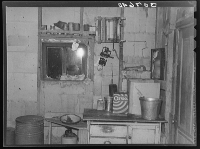 """8. """"Kitchen in dust storm area with window sealed with towels."""""""