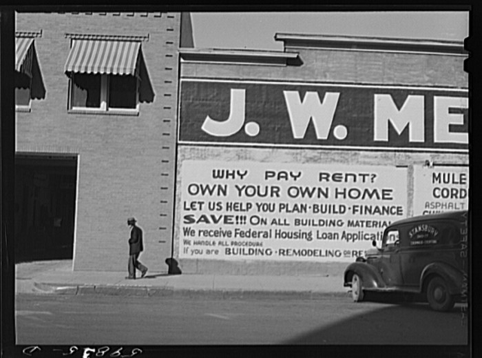 "6. ""Sign on building in Wichita, Kansas, boom town crowded with new defense workers."""