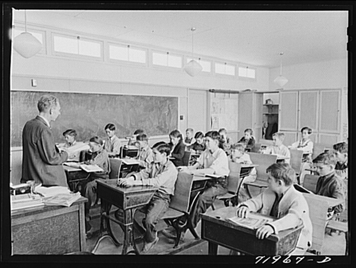 15. Classrooms looked a little different as well: just desks, a chalkboard, and some storage. No TVs, whiteboards, smartboards, computers, or other things you can find in classrooms today.