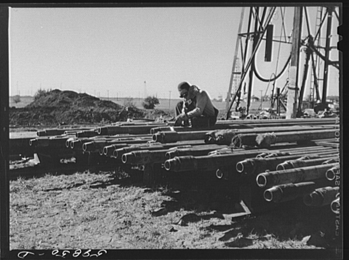 "12. ""Floyd Swick, welder from Newton, Kansas, worked in oil fields about ten years cutting tool joints off a drill pipe. In Goodrich field of Continental oil company."""