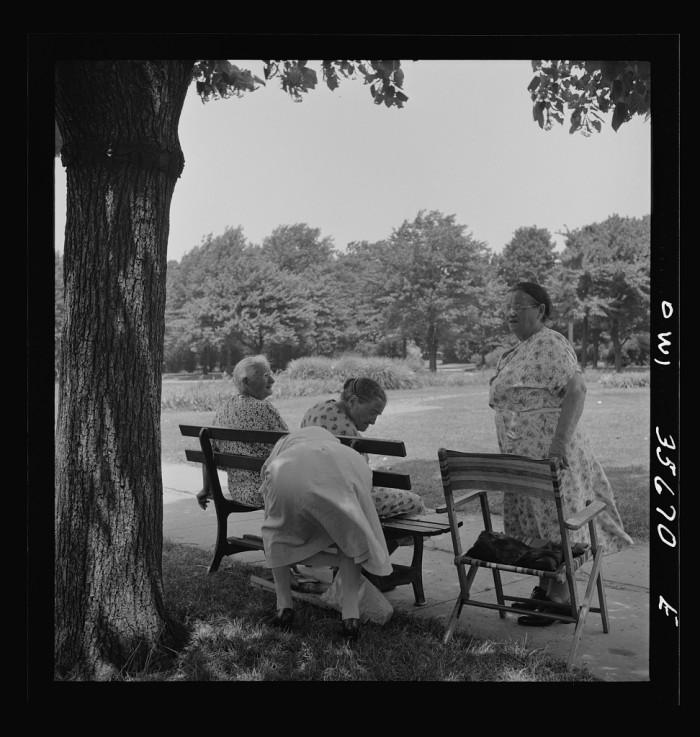 3. Here some ladies relax at Fairmont Park in Philadelphia, 1943.