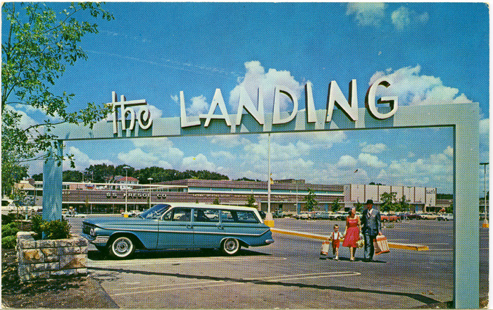 9.	The Landing Mall, Kansas City, 1960s, postcard