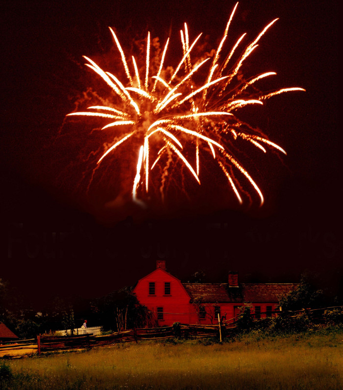 8. Ruby red fireworks for the Fourth of July over Old Sturbridge village.