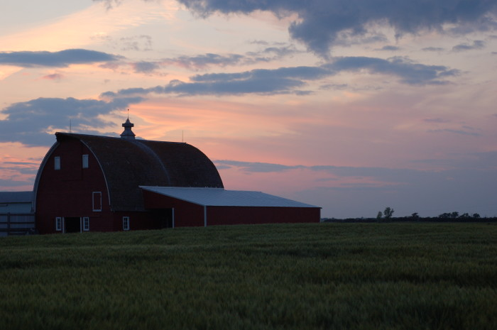5. A beautiful old barn at sunset