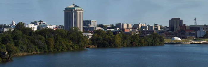 9. A panorama skyline view of downtown Montgomery, Alabama.