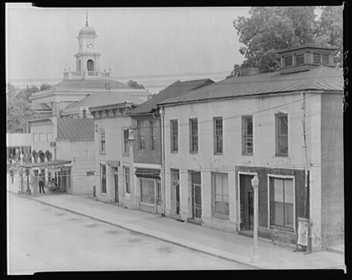 17. A group of main street buildings and county courthouse in Greensboro, Alabama.