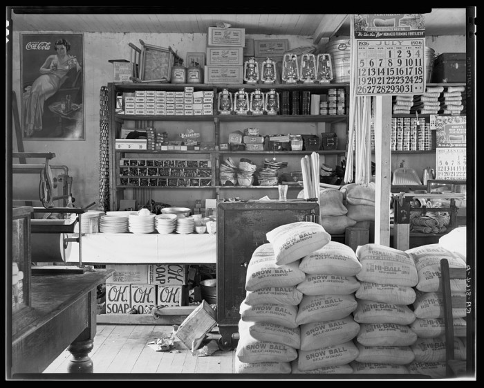 3. The interior of a general store in Moundville, Alabama.