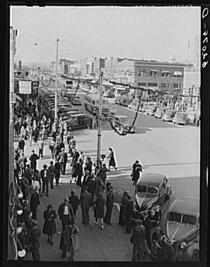 1. A crowd of people Christmas shopping in Gadsden - December 1940.