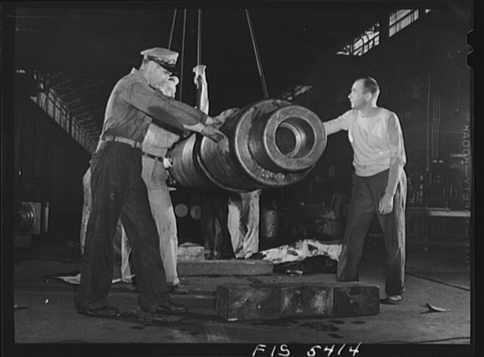 16. Reynolds Alloys Company, Sheffield. A roller from one of the giant rolling mills that has been taken out for repairing - August 1942.