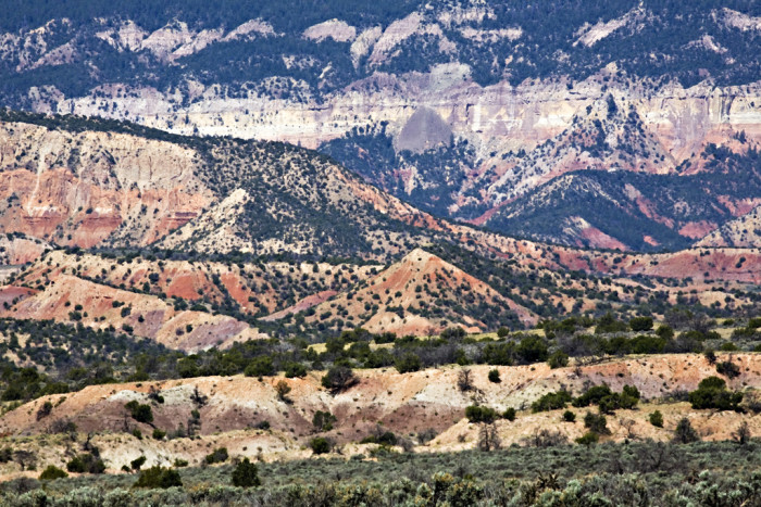 14. One of New Mexico's most beautiful features is the vivid and varied colors of its earth. Views such as this one, which showcases the landscape north of Abiquiu, are common, yet still amazing.