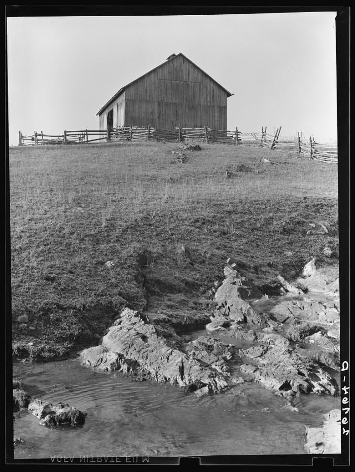 2. A barn sits atop rocky farmland in western Virginia's Alleghany County, 1939.