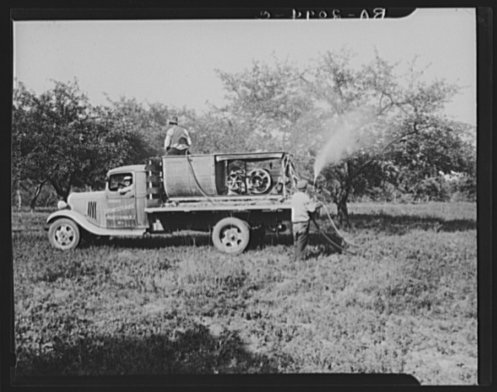 12. Spraying apple orchards in Hightstown by truck.