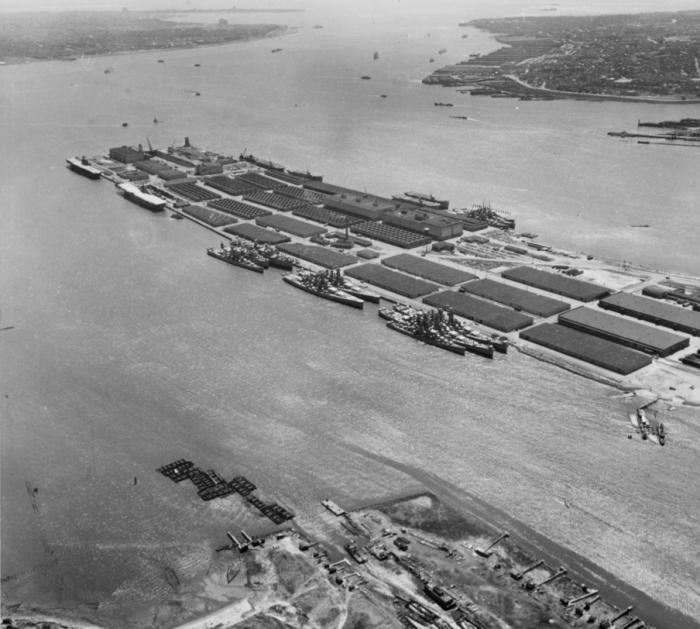 10. An aerial photo of the Bayonne Naval Supply Depot circa 1953.