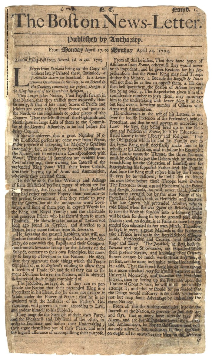 2. The first regularly issued American newspaper, The Boston News-Letter, was published in Boston in 1704. It was heavily subsidized by the British government, with a limited circulation and all copy being approved by the governor.