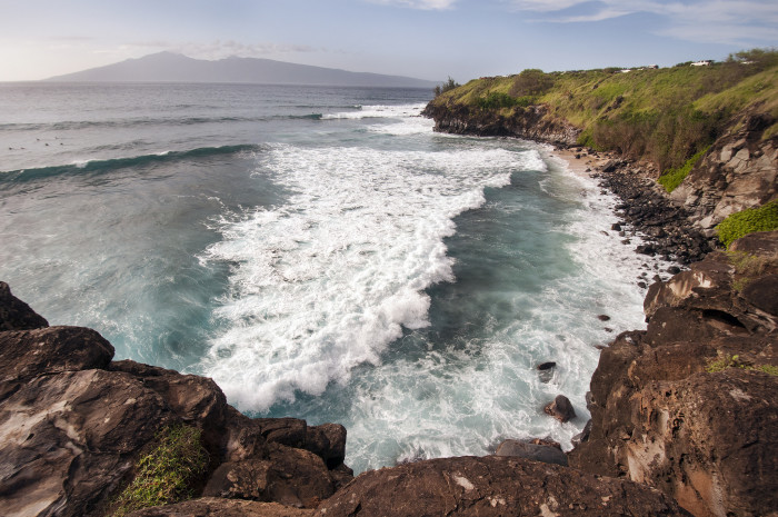 4) Check out the pounding surf at Honolua Bay in this breathtaking aerial shot.