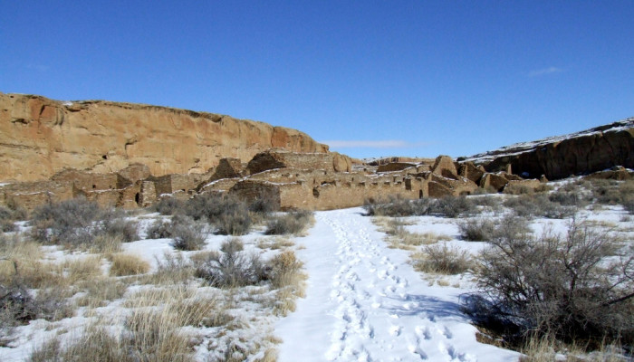 9. The contrast between the snow and the walls of Chetro Ketl, the great house, at Chaco Culture National Historic Park near Nageezi, is particularly striking.