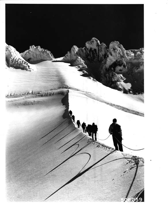 18. A stunning shot of mountain climbers ascending Coalman Glacier on Mount Hood, 1963.