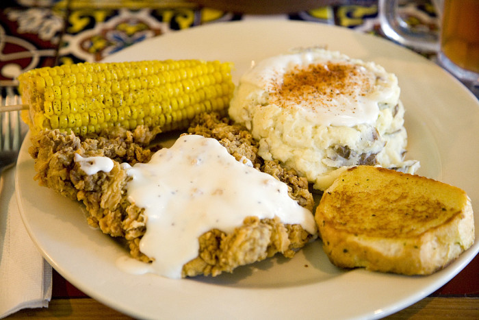 10.  Hand battered country fried steak with mashed potatoes and black pepper gravy.  Served with sweet corn on the cob and garlic toast.