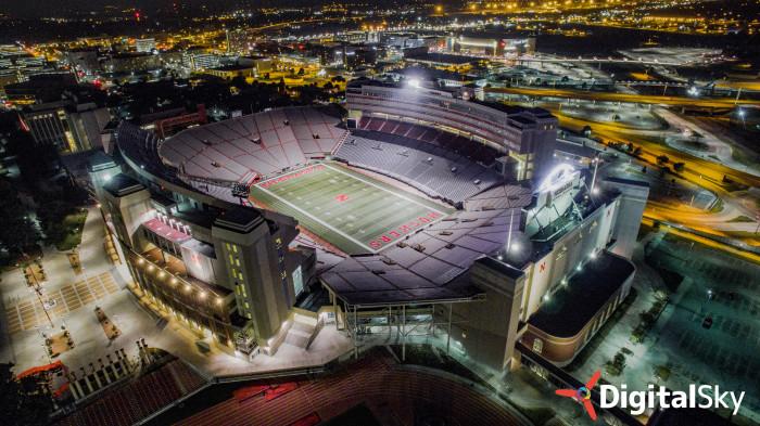 11. The big stadium fills the city with light.
