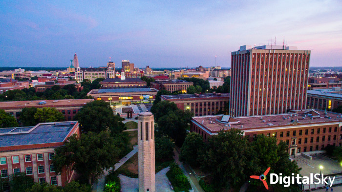 18. This photo was taken from the UNL campus. It shows the Ralph Mueller Bell Tower in the foreground, Love Library in the middle, and downtown Lincoln in the background.