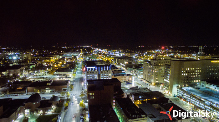 3. Downtown Lincoln at night.