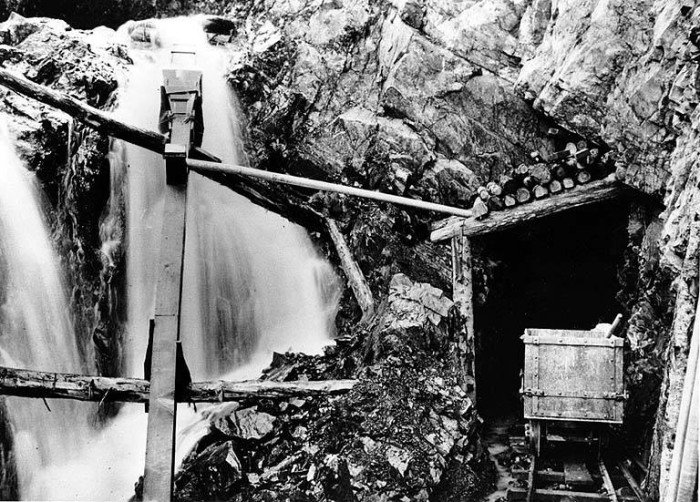 8. The view heading inside of a mining tunnel in Monte Cristo - which is now a ghost town. Taken in 1912.