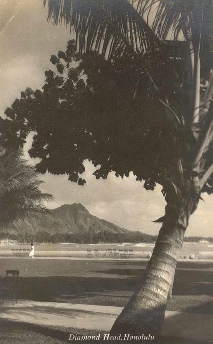 7) Diamond Head, as photographed from the beach in 1930.