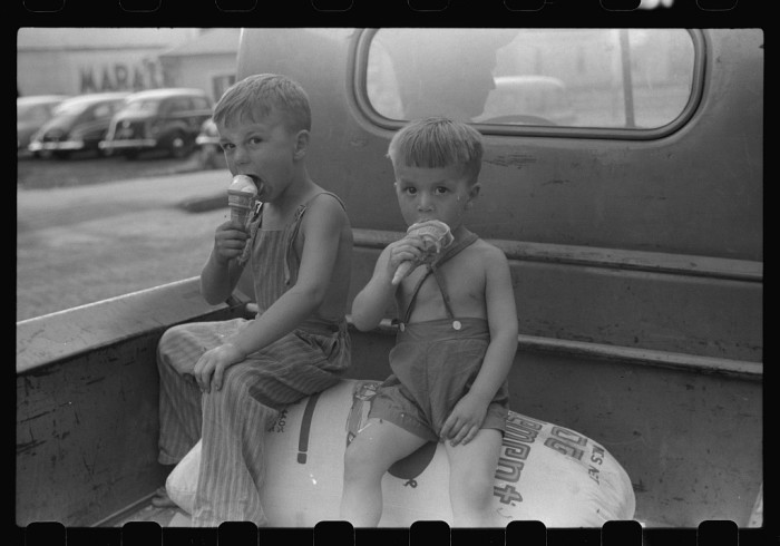 Farm Boys Eating Ice Cream