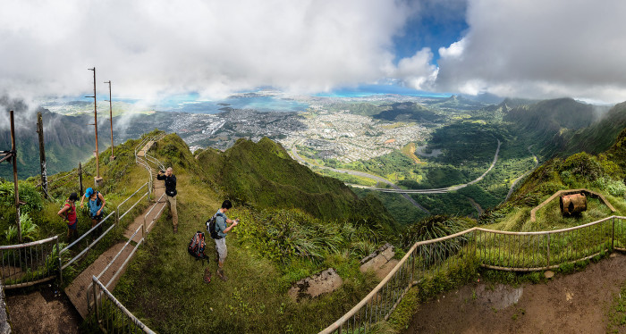 While many hikers attempt to bypass the guards by beginning their ascent in the wee hours of the morning, or meeting up with the stairs via other, legal, trails in the area, the Haiku stairs are illegal and extremely dangerous. We are in no way condoning anyone's choice to hike the stairs.