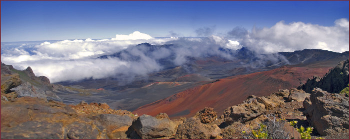 Haleakala volcano is approximately 10,000 feet tall, and dormant – the last eruption happened sometime between 1480 and 1600 AD.