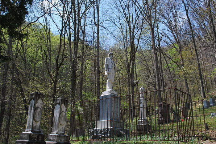 6. This is the grave of Devil Anse Hatfield in Hatfield Cemetery near Sarah Ann in Logan County.