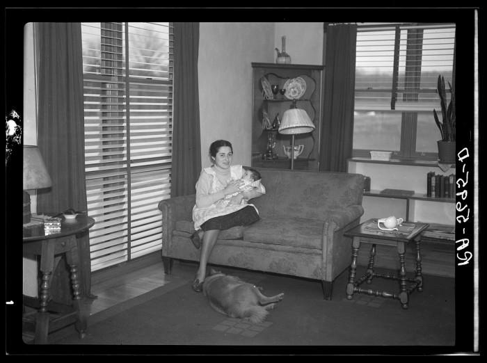 11. A Hightstown homesteader in her living room circa December, 1936.